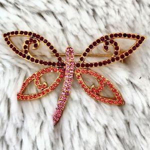 Vintage Joan Rivers Open Rhinestone Butterfly Pin